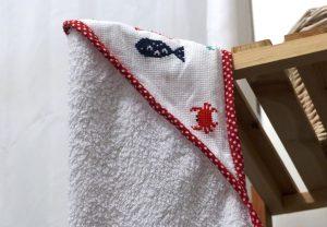 Cape de bain et gant bebe Elise (5)