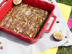 Gâteau aux figues, noisettes et farine de châtaigne